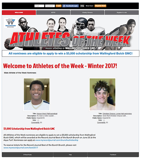 Athletes of the Week Example
